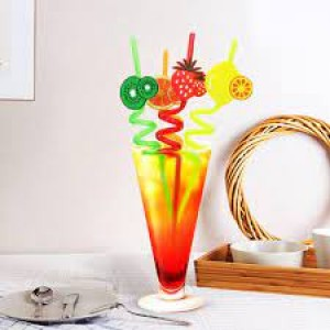 Fruit Shape Reusable Straw (Pack Of 4)