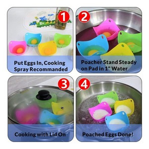 Pack of 6 Egg Poacher Silicone